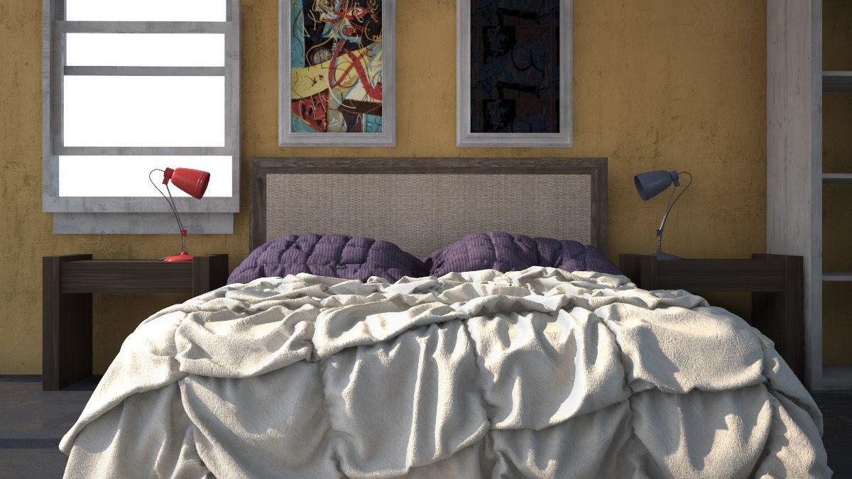 3d sunrise bedroom scene