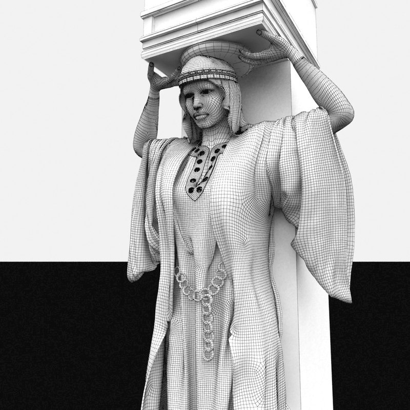 3d cariathide woman column model
