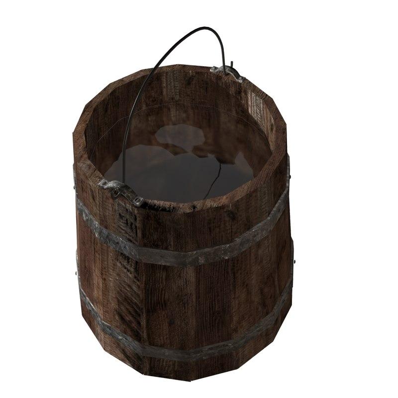 old wooden bucket 3d max