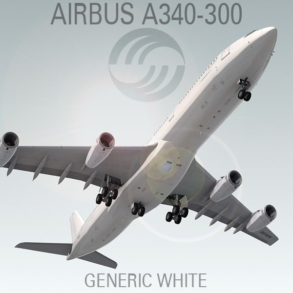 3ds airbus a340-300 generic white