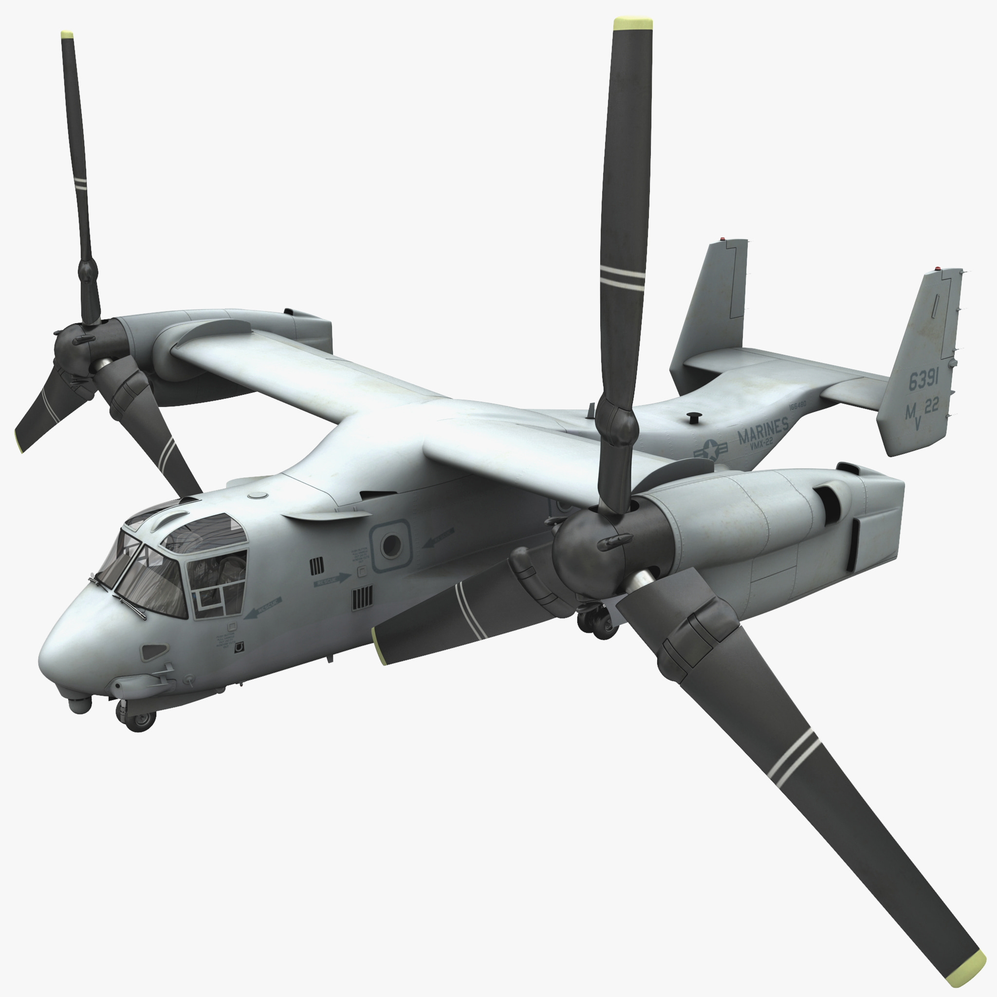 military tiltrotor aircraft mv-22 3d model