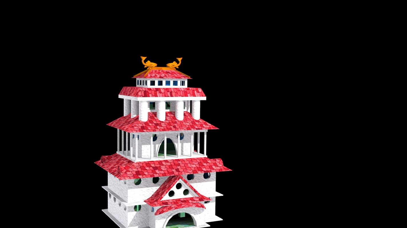 konoha dragon building2 uvw 3d max