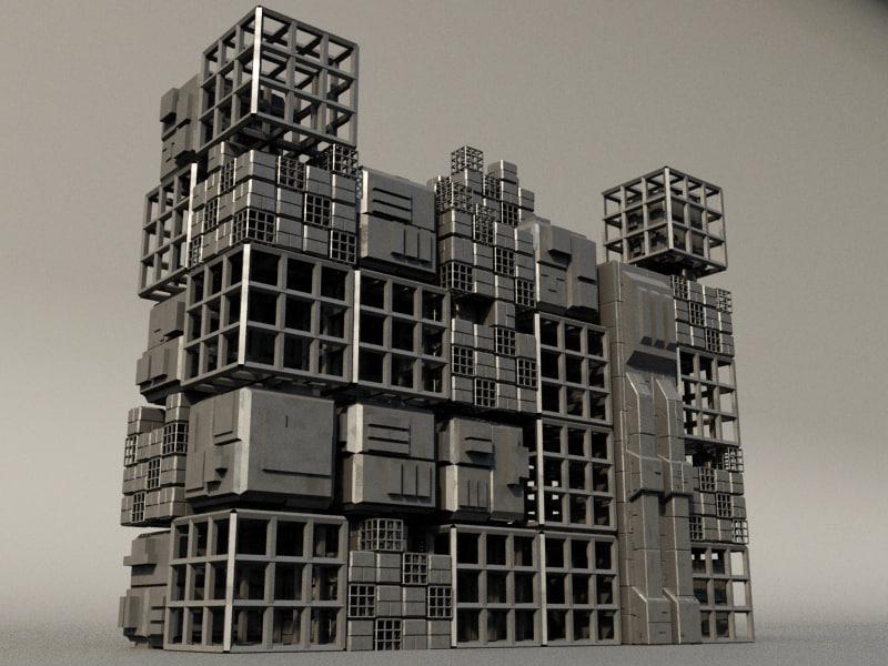 sci fi box building 3d max