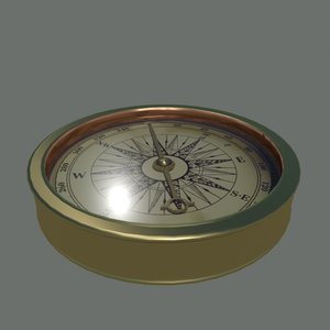 3d model old compass