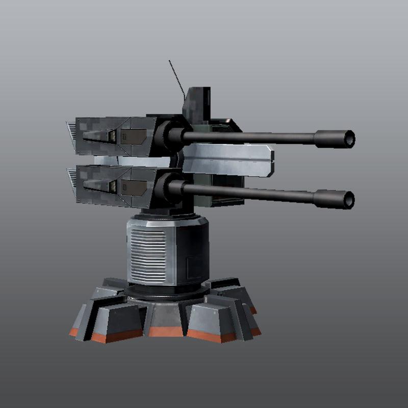 3d model gun turret