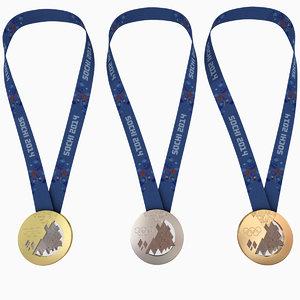 3d model olympic medals - sochi