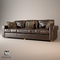 3d max baxter leather sofa