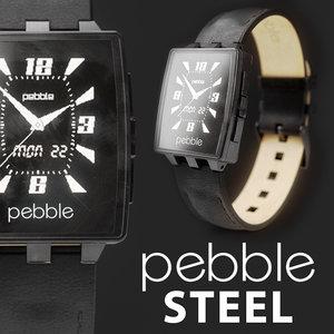 3d model pebble steel leather