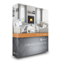 CGAxis Models Volume 45 Fireplaces FBX OBJ