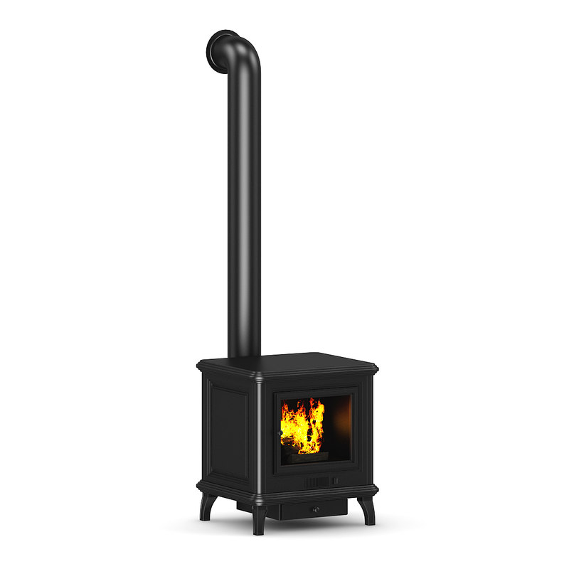black metal fireplace 3d obj
