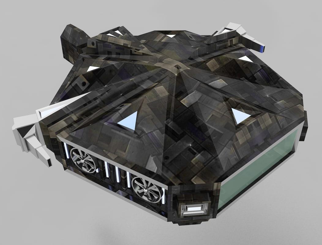 3d fighter transporter ship model