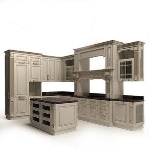 3d model classic kitchen julia
