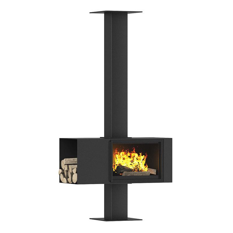 fireplace wood 3d model