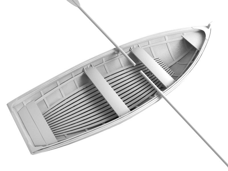row boat fish obj