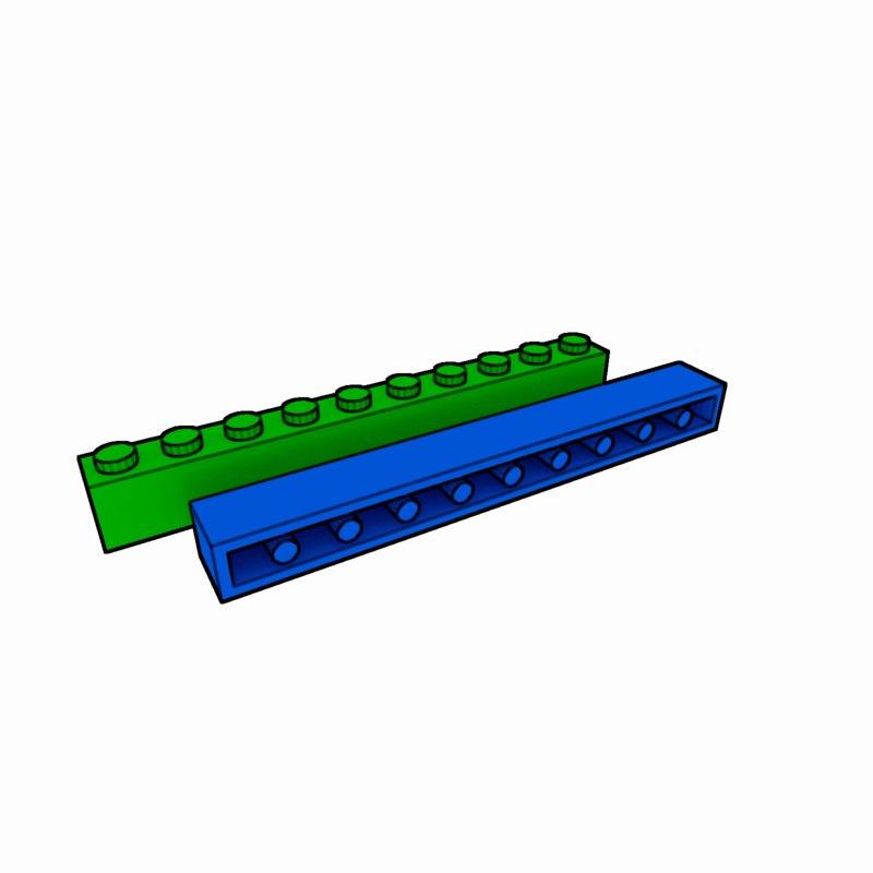 piece lego brick 1x10 3ds