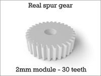 Real spur gear 2mm module - 30 teeth