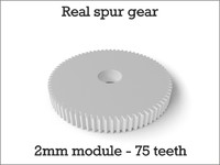 3d model real spur gear 2mm