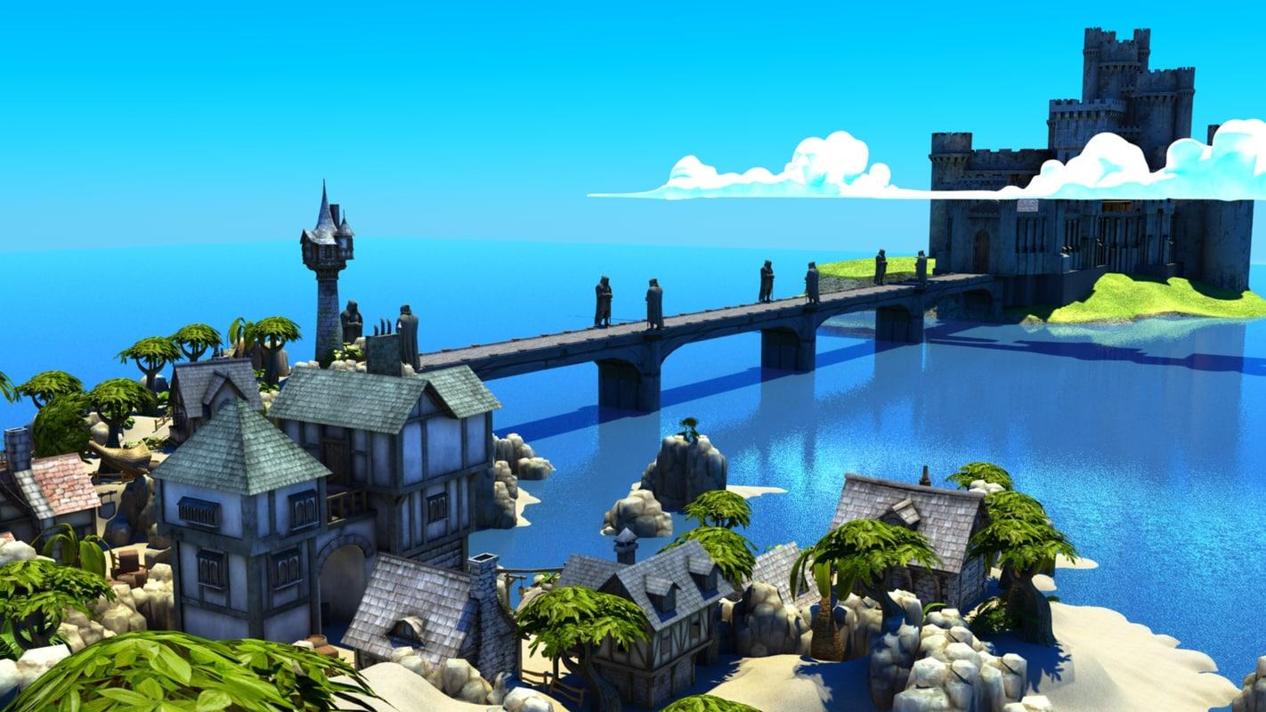 castle interior 3d obj