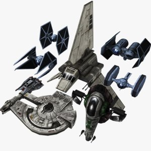 star wars pack fighter 3d obj