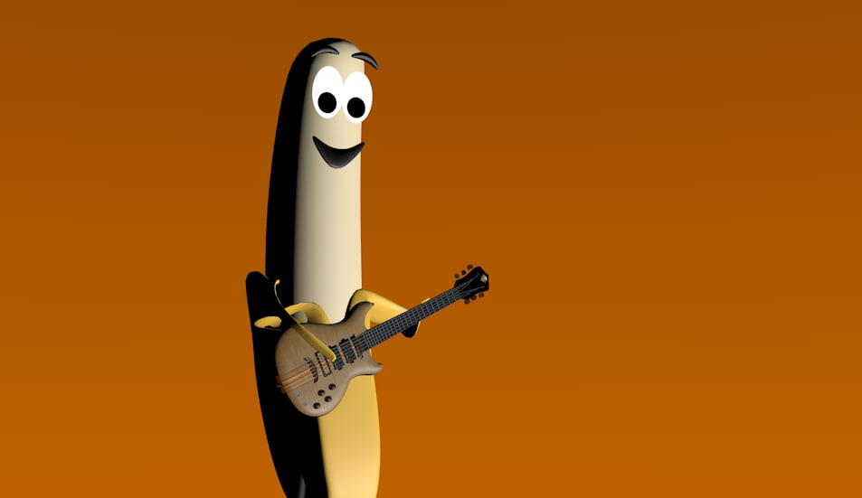 banana rock star man 3d model