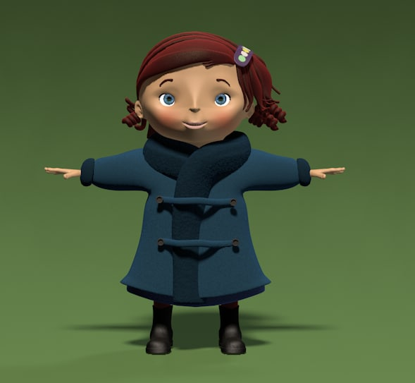 3d virginia girl child cartoon female model