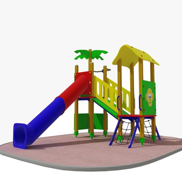 3d playground tunnel slide