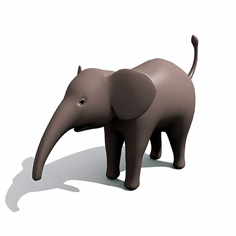 baby elephant obj
