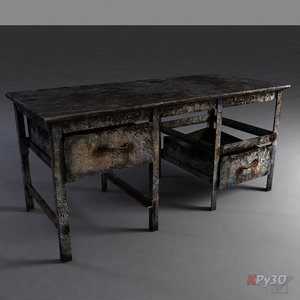 3d old rusty metal workbench