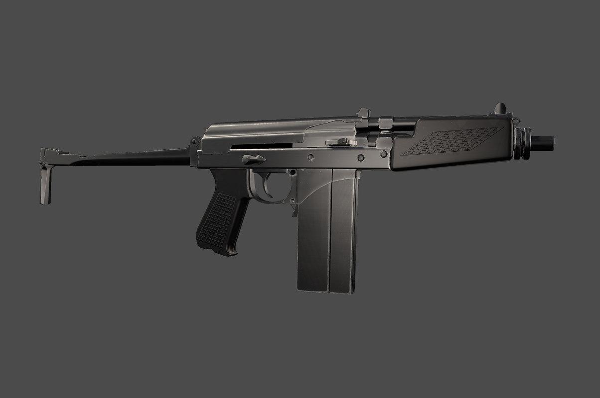 russian 9a91 sub-machine gun 3d max
