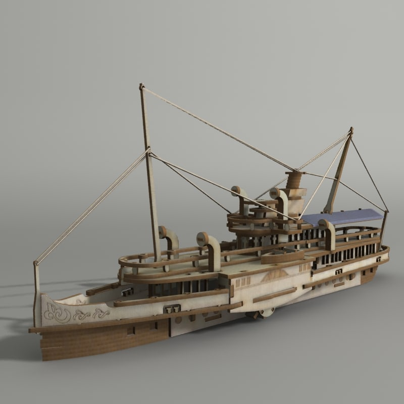 wooden ship 3d 3ds