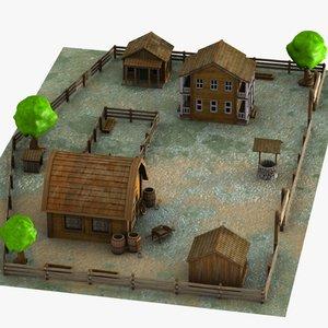 3d cartoon farmhouse farm model