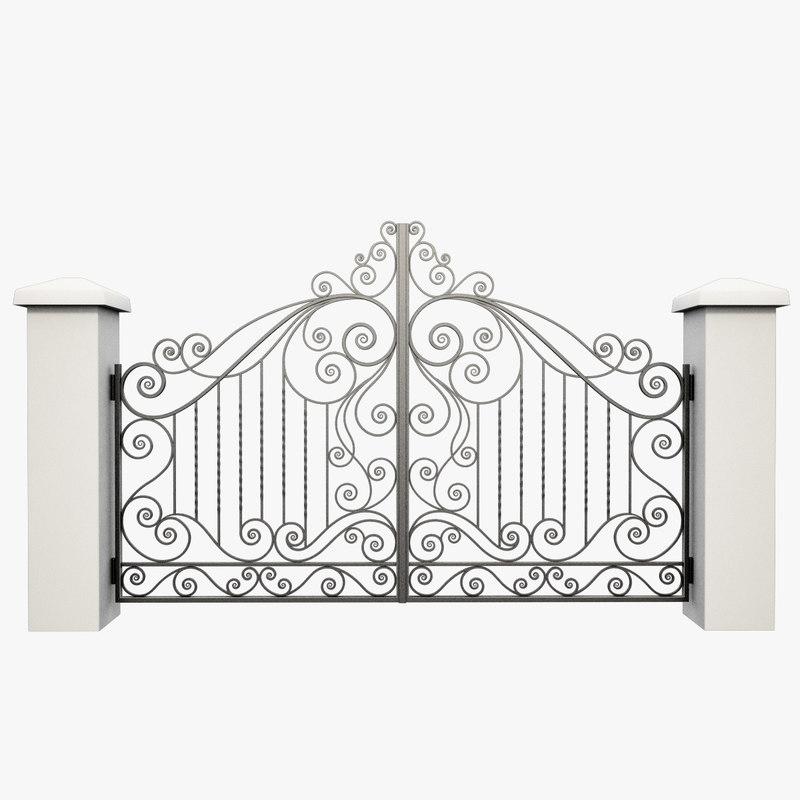 wrought iron gate 3d model