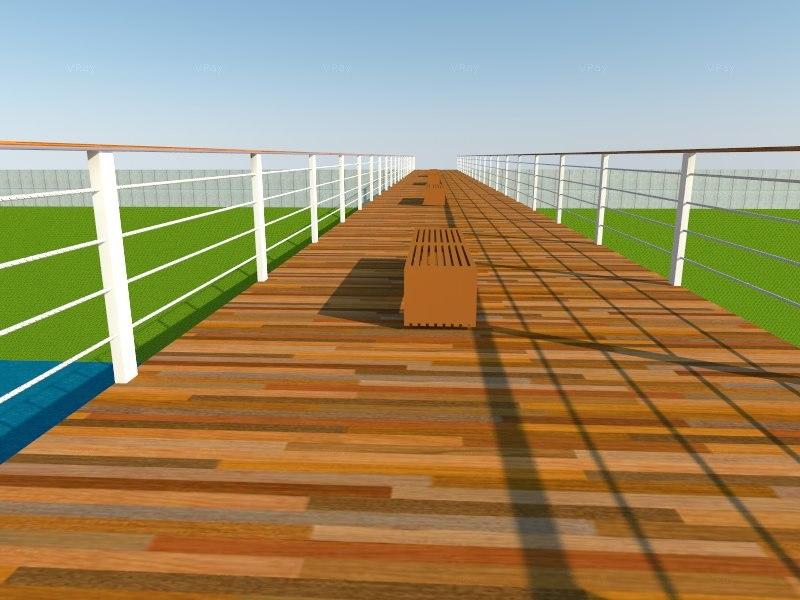3d 3ds truss pedestrian bridge