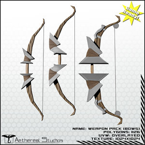 3d bows fantasy weapon pack