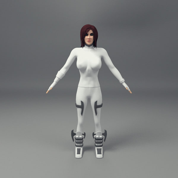 scifi female character obj