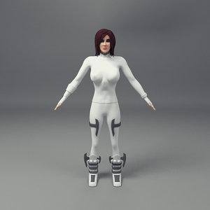 scifi female character obj