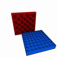 piece lego brick 8x8 3d model
