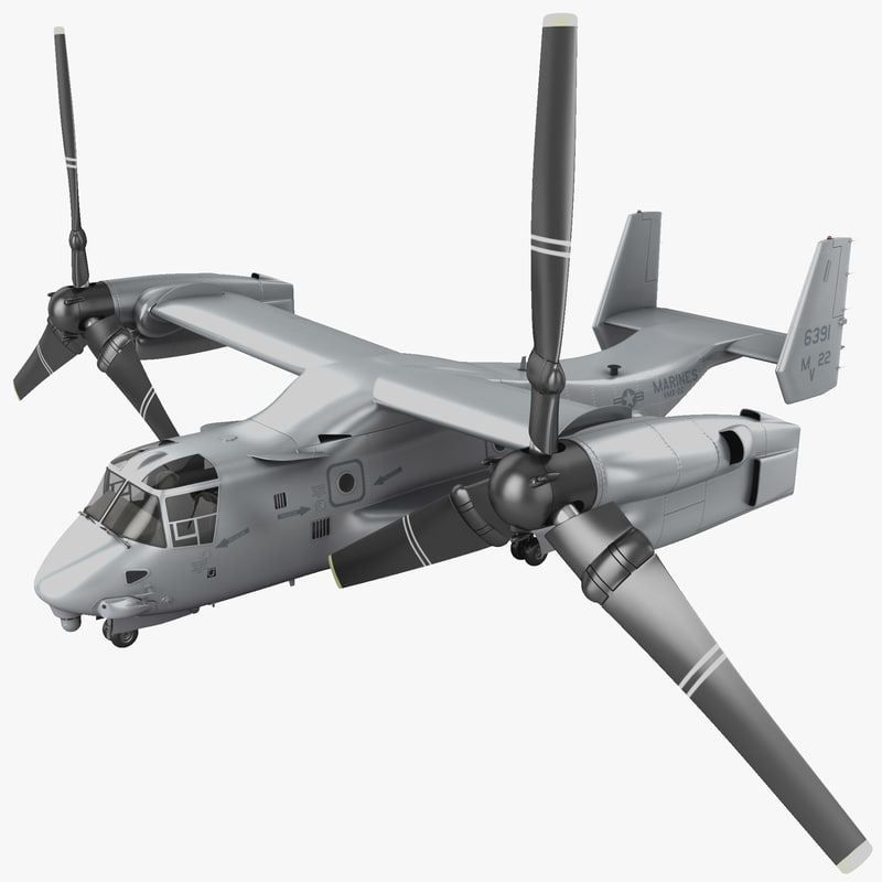 3d model military tiltrotor aircraft mv-22