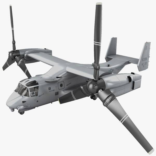 3d model military tiltrotor aircraft mv-22