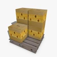 pallet boxes 3d 3ds