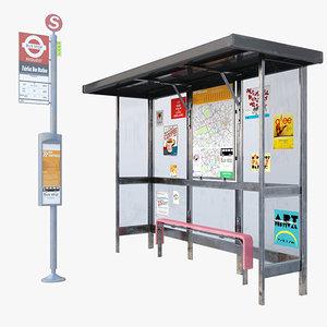 bus stop london 3d max