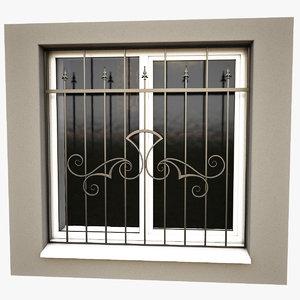 3d model windows security bars