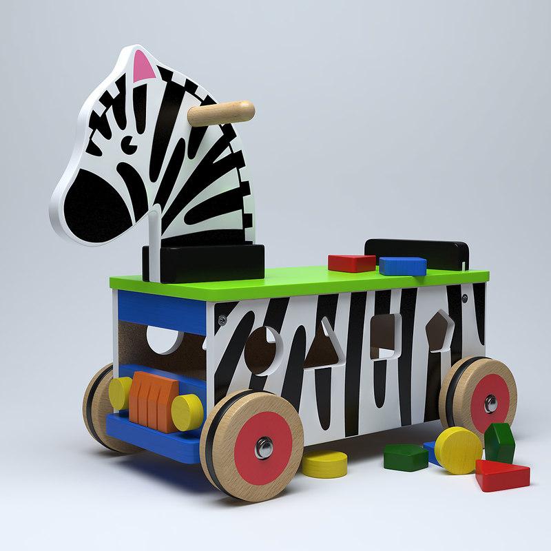 3d model wooden ride-on zebra toy