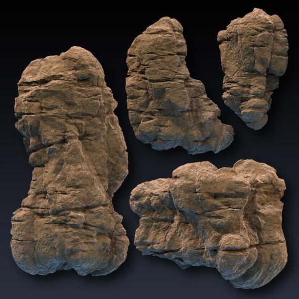 3d rock blocks faces cliffs