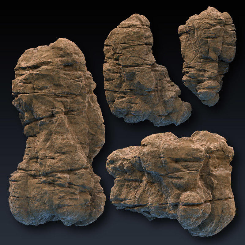 3d rock blocks faces cliffs