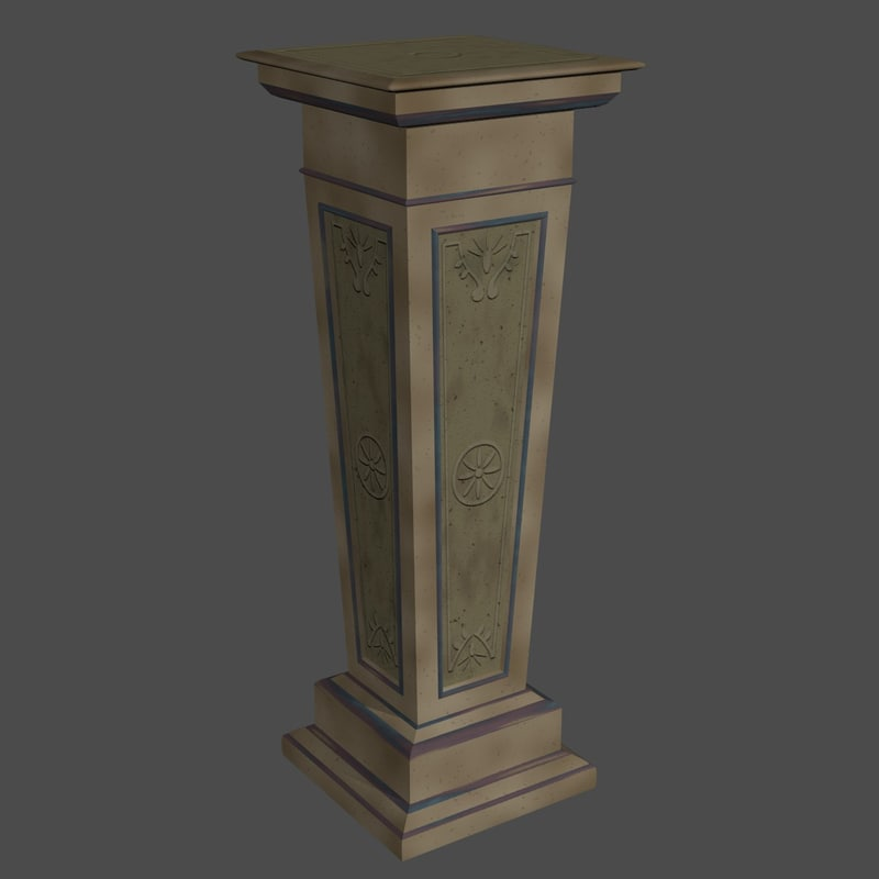modern decorative stone pillar 3d model