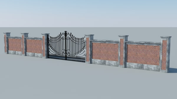 free concrete wall iron gate 3d model