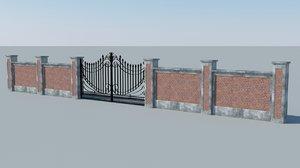 free concrete wall iron gate 3d model