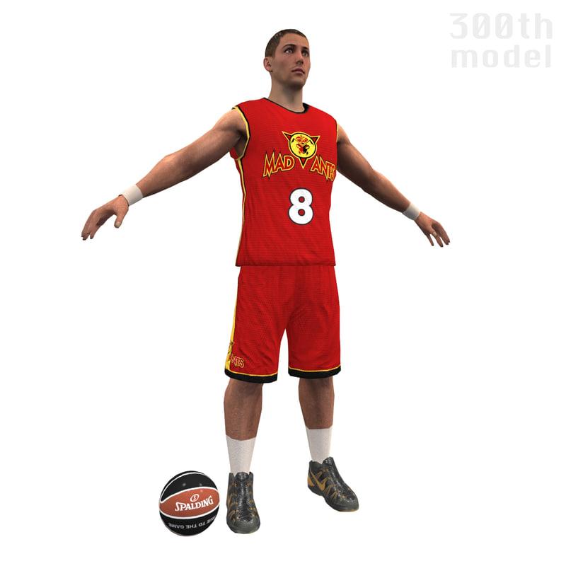 basketball player ball 3d