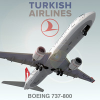3d boeing 737-800 turkish airlines